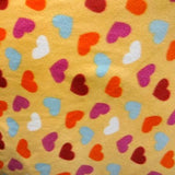 Hearts on Yellow Anti Pill Fleece Fabric