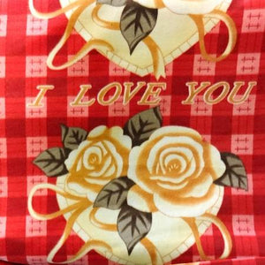 I Love You Checkered Anti Pill Fleece Fabric