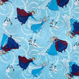 Disney Frozen in Blue 100% Cotton Print Fabric