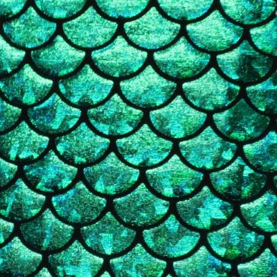 Mystic Mermaid Hologram Fish Scale Stretch Spandex Green