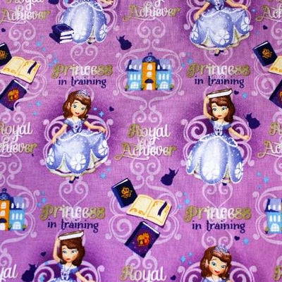 Disney Little Princess in Training 100% Cotton Print Fabric