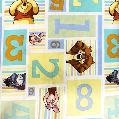 Winnie the Pooh Number Gram 100% Cotton Print Fabric