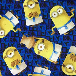 Despicable Me Royal Blue Guru Minions 100% Cotton Print Fabric