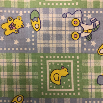 Green Blue Rubber Ducky Plaid Poly Cotton Fabric