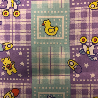 Purple Blue Rubber Ducky Plaid Poly Cotton Fabric