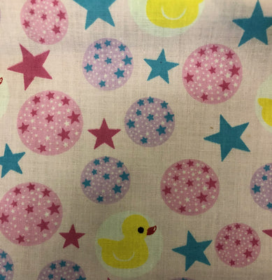 Rubber Ducky and Stars on Light Pink Poly Cotton Fabric