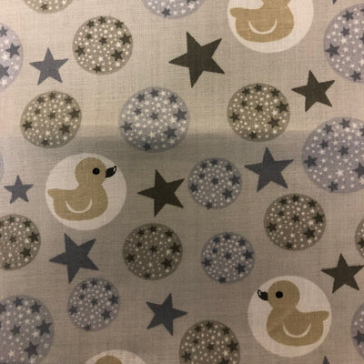 Rubber Ducky and Stars on Gray Poly Cotton Fabric