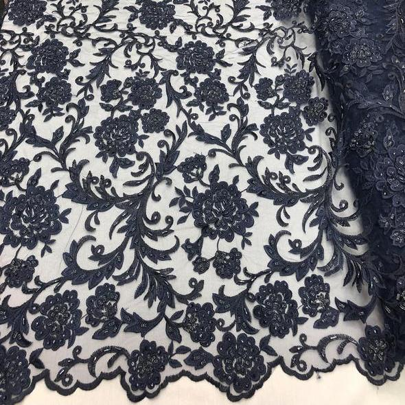 Navy Blue Beaded Floral Embroidery Lace Fabric Ifabric