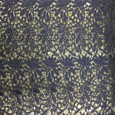 Deep Navy Blue Guipure Lace Fabric
