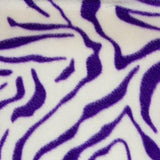 Purple & White Zebra Fleece Fabric