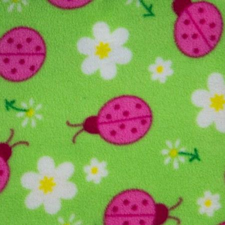 Pink Lady Bug on Green Anti Pill Animal Theme Fleece Fabric