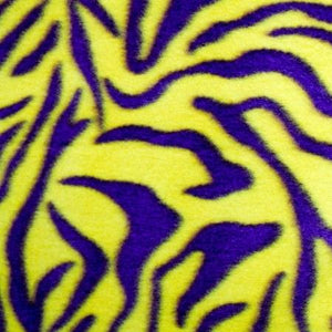 Purple/Yellow Zebra Fleece Fabric
