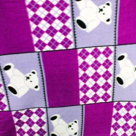 Teddy Bear Purple Blocks Anti Pill Animal Theme Fleece Fabric
