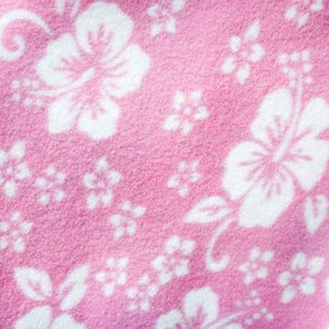 Hawaiian White Hibiscus Foliage Pink Anti Pill Premium Fleece Fabric