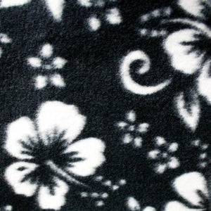 Hawaiian White Hibiscus Fields Black Anti Pill Premium Fleece Fabric