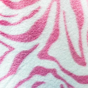 White & Baby Pink Zebra Fleece Fabric