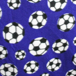 Soccer Blue Anti Pill Print Fleece Fabric