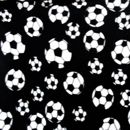 Soccer Black Size Anti Pill Print Fleece Fabric