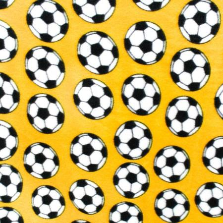 Soccer Yellow Anti Pill Print Fleece Fabric