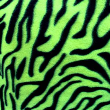 Neon Green Zebra Fleece Fabric