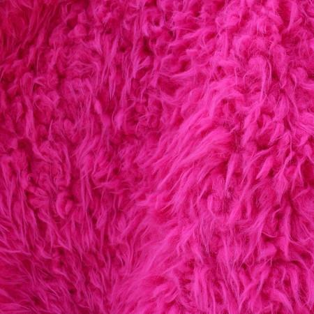 Curly Fuchsia Faux Fur Fabric