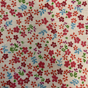 Blue Red Mini Flower on White Poly Cotton Fabric