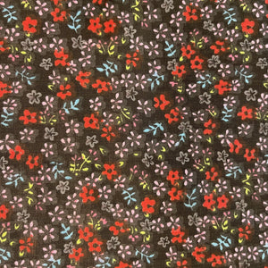 Blue Red Mini Flower on Black Poly Cotton Fabric