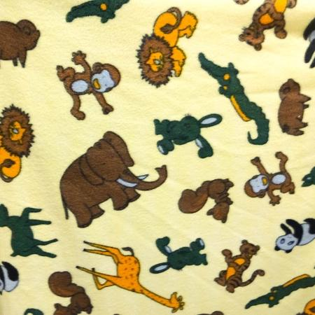 Into the Jungle Yellow Anti Pill Fleece Fabric