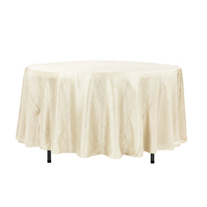 "108"" Ivory Crinkle Crushed Taffeta Round Tablecloth"