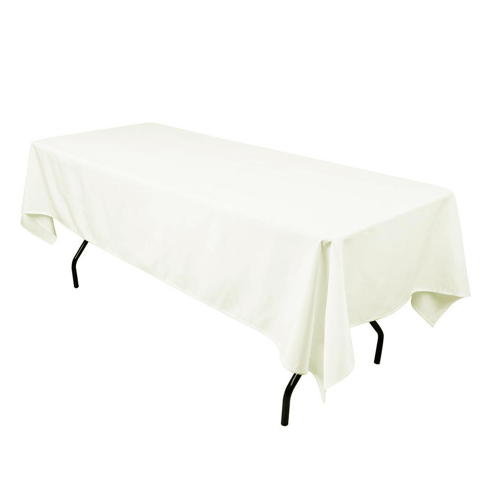 "Ivory 100% Polyester Rectangular Tablecloth 60"" x 126"""