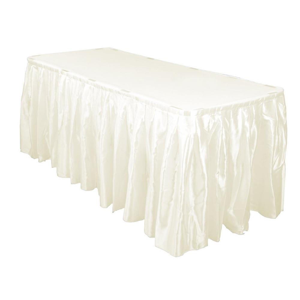 14 Ft. Hunter Ivory Accordion Pleat Satin Table Skirt