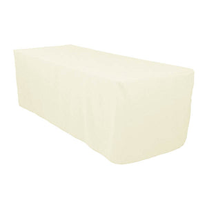 6 Ft Ivory Fitted Polyester Rectangular Tablecloth