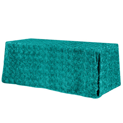 Jade Rosette 3D Satin Rectangular Tablecloth 90