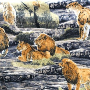 King of the Jungle Anti Pill Animal Theme Fleece Fabric