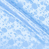 Satin Jacquard Roses Light Blue Fabric