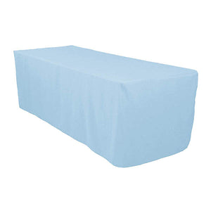 6 Ft Light Blue Fitted Polyester Rectangular Tablecloth