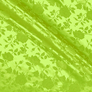 Lime Satin Jacquard Roses Fabric
