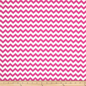 "1"" Fuchsia and White Chevron Poly Cotton Fabric"