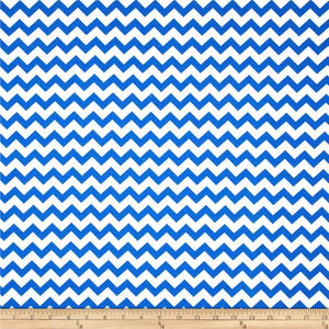 "1"" One Inch Royal Blue and White Chevron Poly Cotton Fabric"