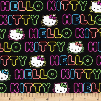 Neon Hello Kitty Black 100% Cotton Fabric