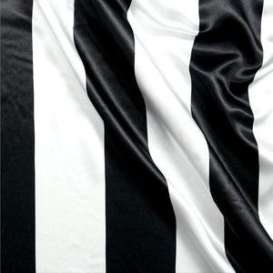 "Black White Stripe 1"" inch Satin Fabric"