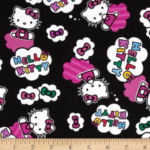 Hello Kitty Cloud Toss Black 100% Cotton Fabric