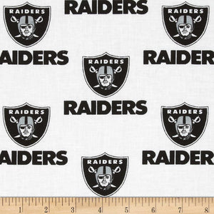 NFL Broadcloth Oakland Raiders Black/White 100% Cotton Print Fabric