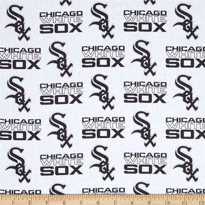 MLB Broadcloth Chicago White Sox Black White 100% Cotton Fabric