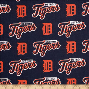 MLB Detroit Tigers Orange/Navy Fleece Fabric