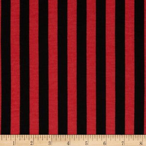 "1/2"" Half Inch Black and Red Stripes Poly Cotton Fabric"