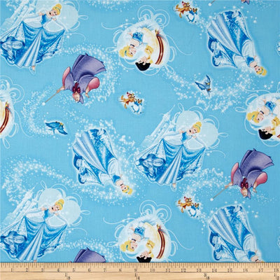 Disney Princess Movie Cinderella Character Toss Blue 100% Cotton Fabric