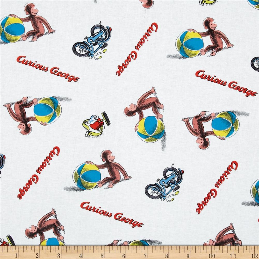 Universal Curious George Playing Ball White 100% Cotton Fabric