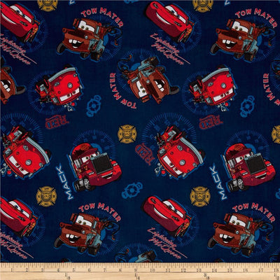 Disney Pixar Cars Allover Blue 100% Cotton Fabric
