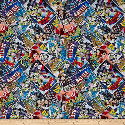 Disney Toy Story Classic Comic Book Packed 100% Cotton Fabric
